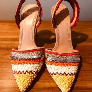 Tory Burch Beaded Colored Pointed Slingbacks